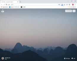 Chrome s'ouvre avec une image de fond.