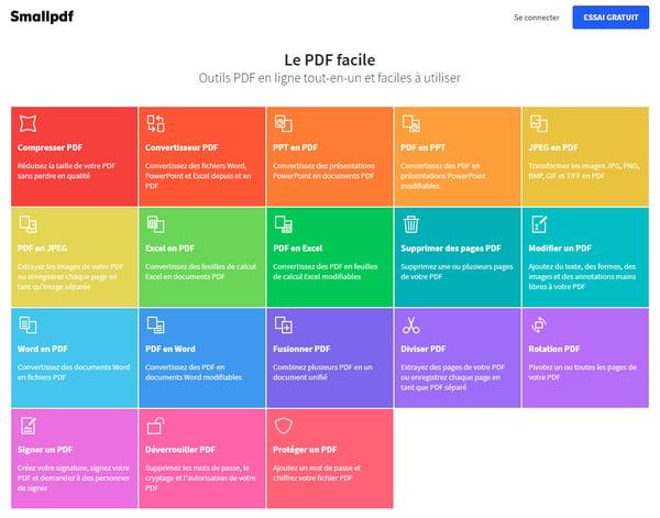 SmallPdf, boite à outils pour fichiers PDF.